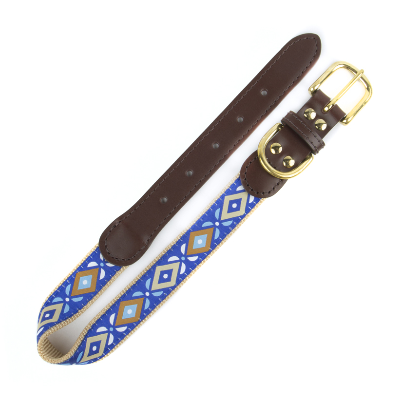 American traditions leather and ribbon dog collar with an Aztec design. Auburn Leathercrafters