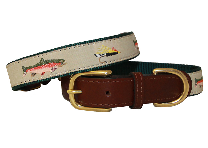 American traditions leather and ribbon dog collar with a bella floral design. Auburn Leathercrafters