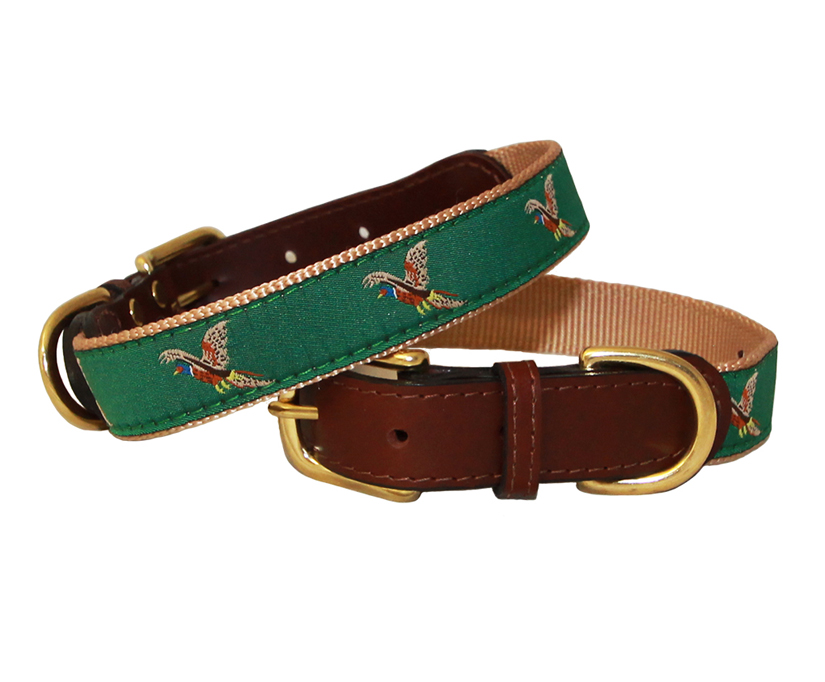 American traditions leather and ribbon dog collar with a pheasant design. Auburn Leathercrafters