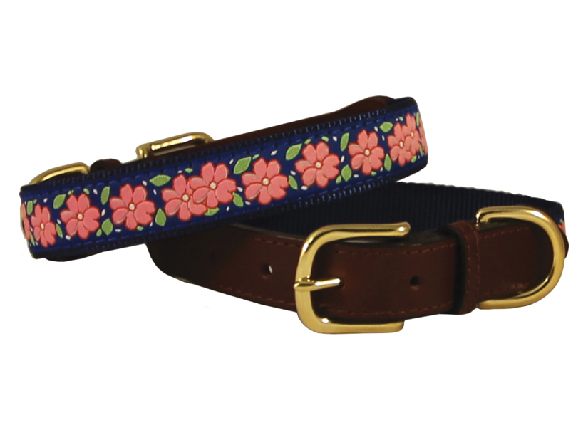 American traditions leather and ribbon dog collar with a Pink Garden design. Auburn Leathercrafters