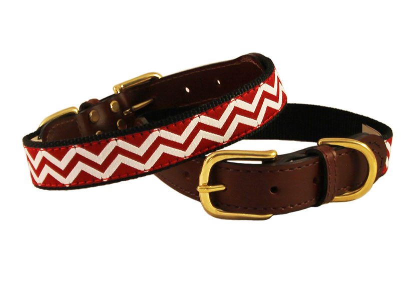 American traditions leather and ribbon dog collar with a red and white chevron design. Auburn Leathercrafters