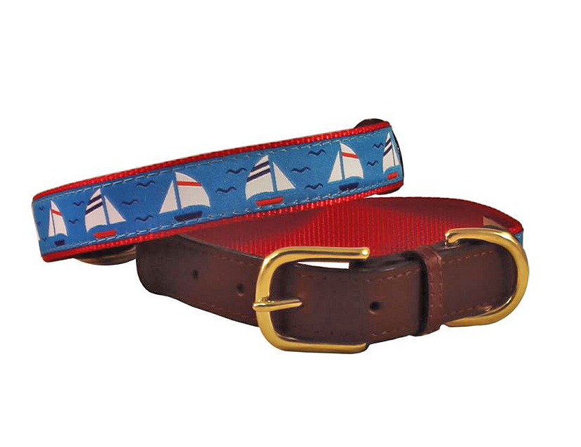 Auburn Leathercrafters American traditions leather and ribbon dog collar with a sailboat design. Under Sail