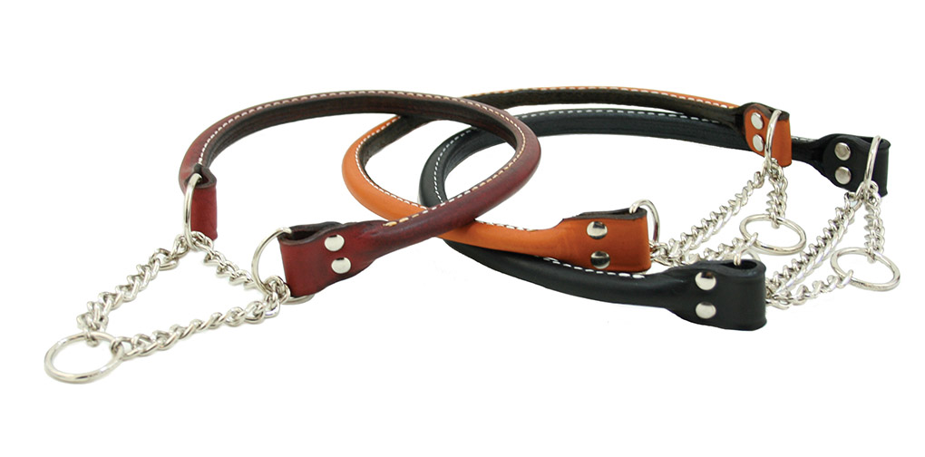 Rolled leather martingale dog collar made out of bridle leather from Auburn Leathercrafters.