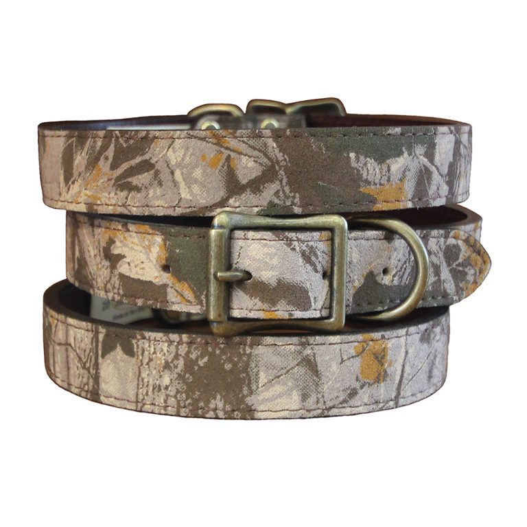 Auburn Leathercrafter's bridle leather lined camouflage dog collar.