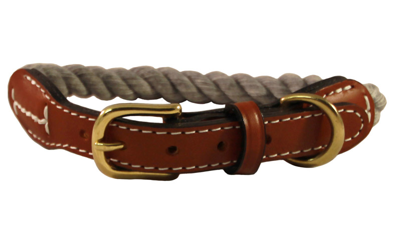 Grey cotton rope dog collar with leather accents and brass hardware.