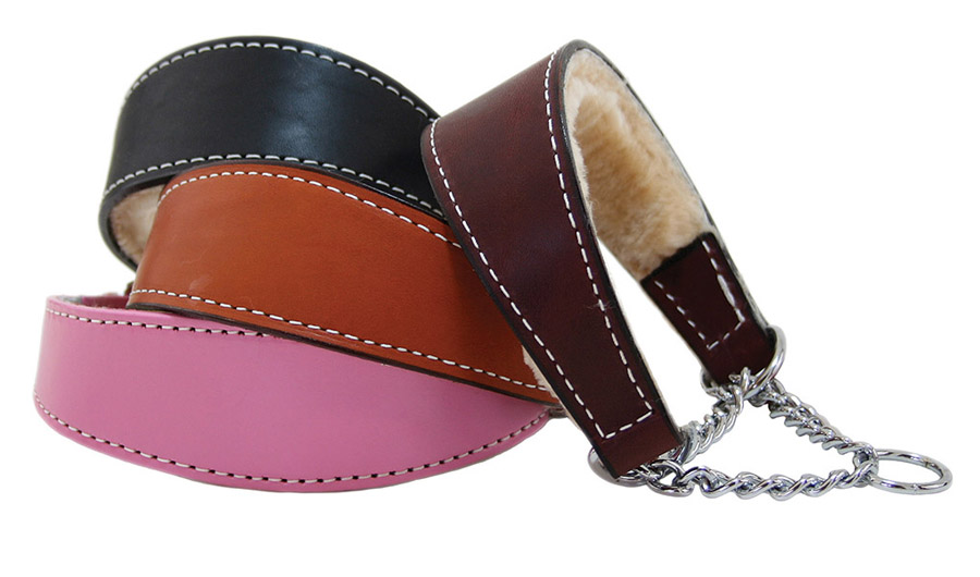 Shearling lined bridle leather martingale style dog collar for Auburn Leathercrafters.