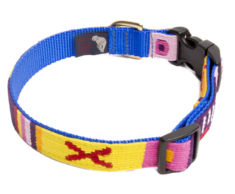 Large adjustable A Tail We Could Wag woven fabric side release dog collar. Many colors to choose from.