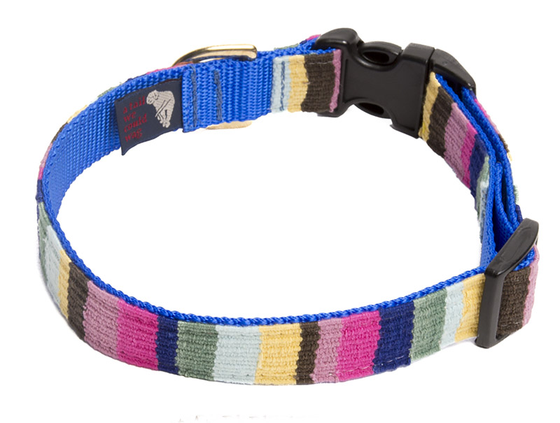 Medium adjustable A Tail We Could Wag woven fabric side release dog collar. Many colors to choose from.
