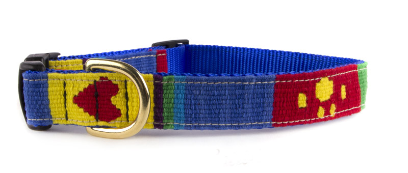 Small adjustable A Tail We Could Wag woven fabric side release dog collar.