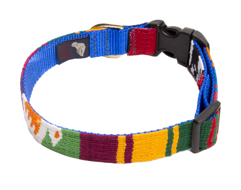 X-Large adjustable A Tail We Could Wag woven fabric side release dog collar. Many colors to choose from.