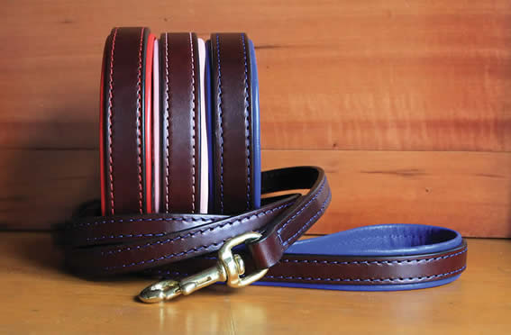 Padded handle full grain bridle leather dog leash.