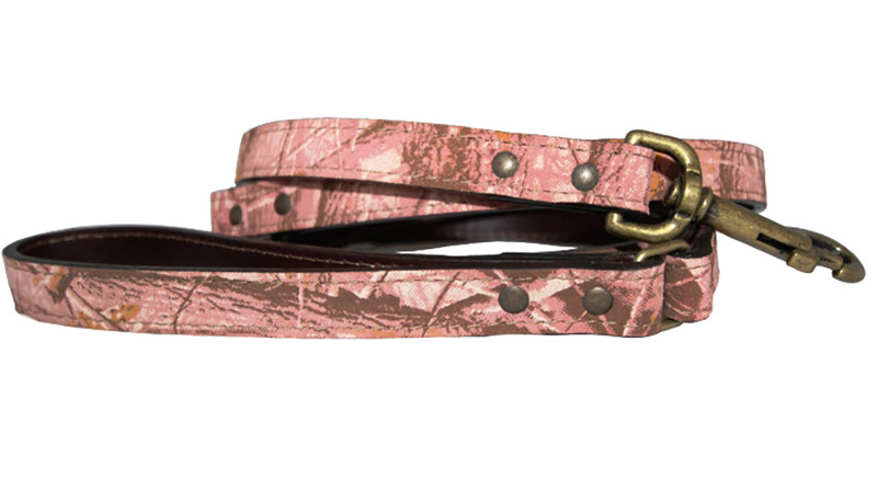 Pink camouflage printed suede sturdy leather dog leash is finished with muted antiqued hardware.