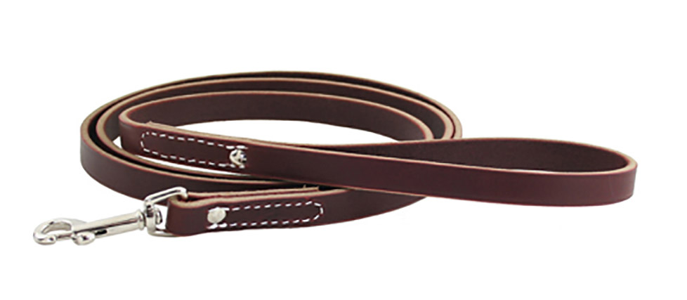 Full grain leather with beveled edges dog training lead/leash from Auburn Leathercrafters.