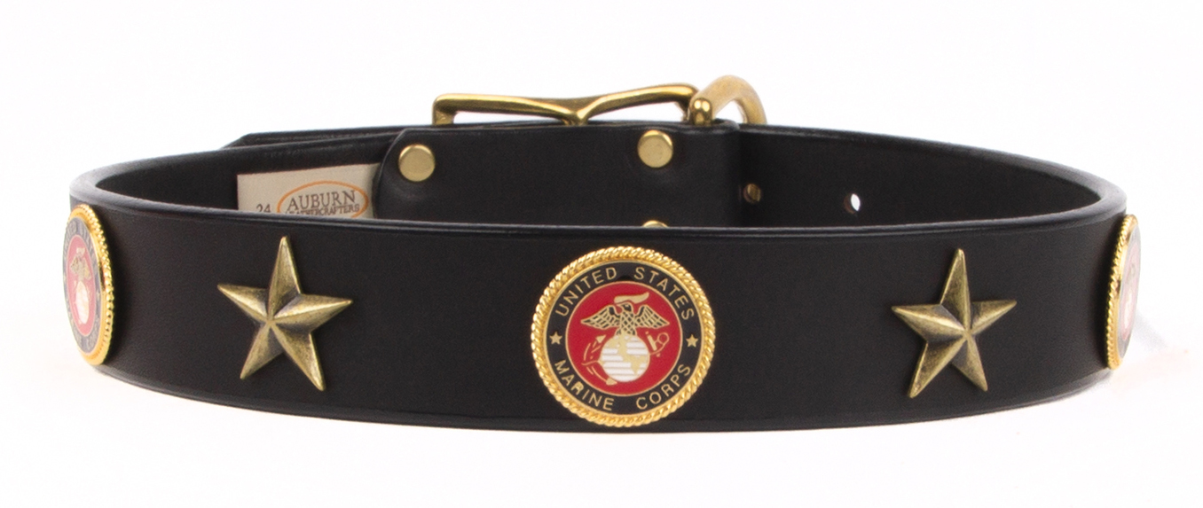 Marine Corps emblem leather dog collar from Auburn Leathercrafters. Great gift for a friend or loved one in the Marines that loves dogs.