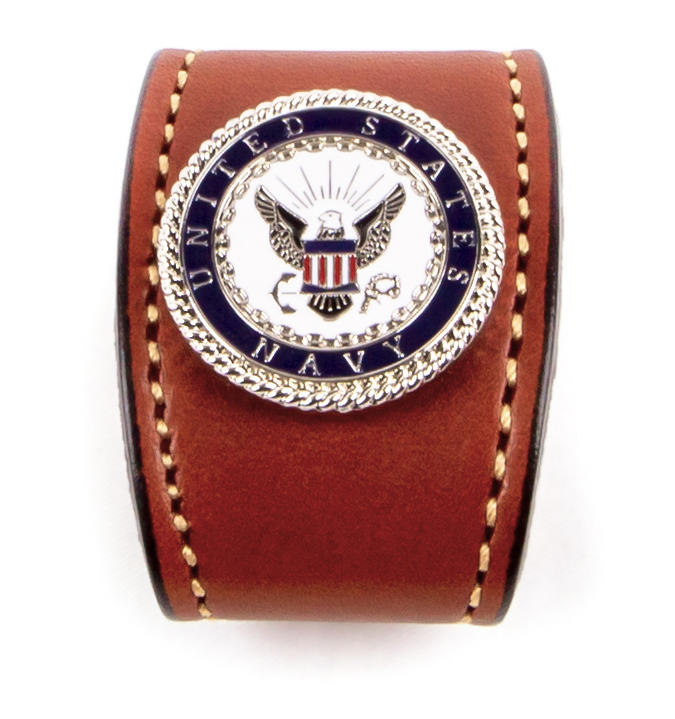 Navy emblem bridle leather belt from Auburn Leathercrafters.
