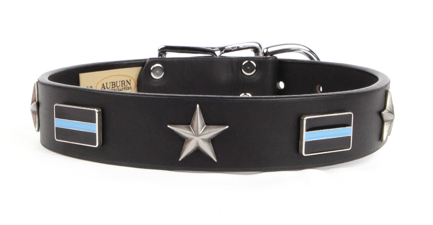Thin Blue Line Emblem Dog Collar - Law Enforcement and Police