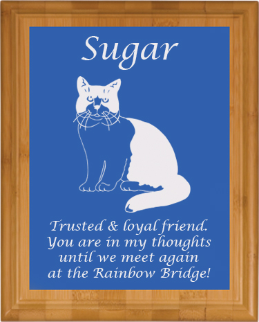 Pet Memorial Engraved Bamboo Plaque - Cats 2