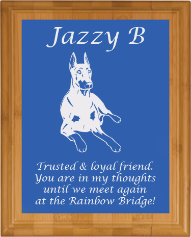 Pet memorial Bamboo plaque with custom engraved doberman design and personalized text.