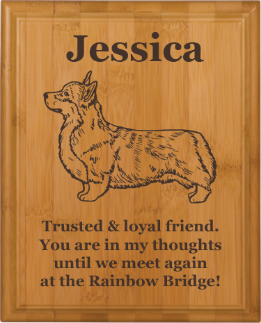 Personalized Pet Memorial Engraved Bamboo Plaque - Welsh Corgi Designs