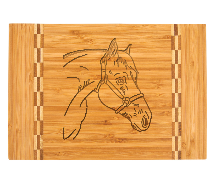 Personalized engraved bamboo cutting board with custom engraved horse design and text.
