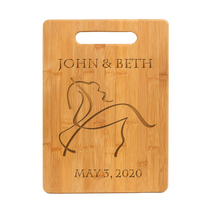 Personalized engraved bamboo cutting board with custom engraved horse design 2 and text of your choice.