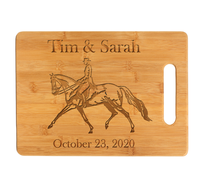 Personalized engraved bamboo cutting board with custom engraved horse design 3 and text of your choice.