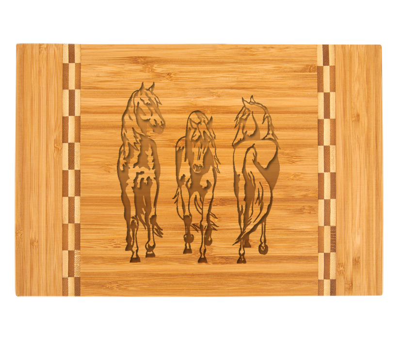 Personalized engraved bamboo cutting board with custom engraved horse design 4 and text of your choice.