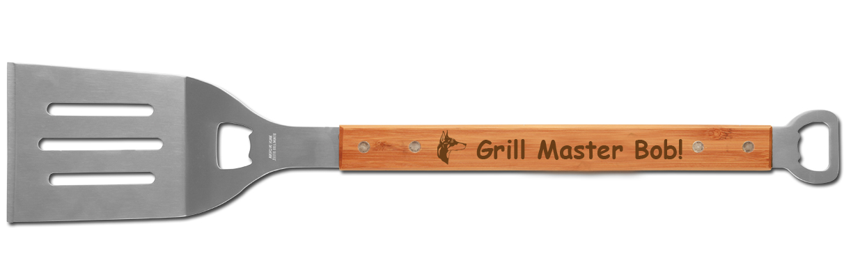 Custom engraved BBQ spatula with bottle opener comes with a Doberman dog design and text.