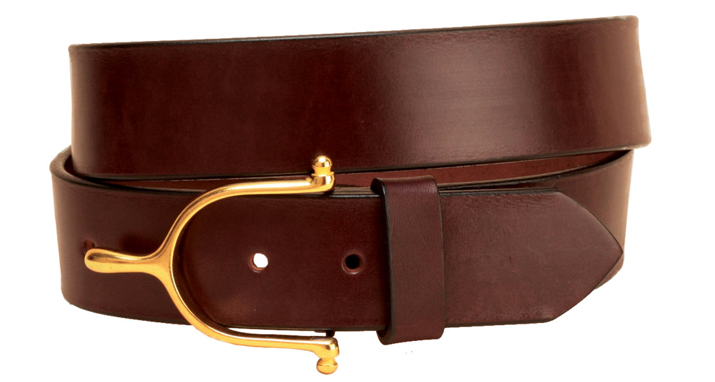 "English Spur Buckle Leather Belt - 1 1/2"" Tall - Equestrian"