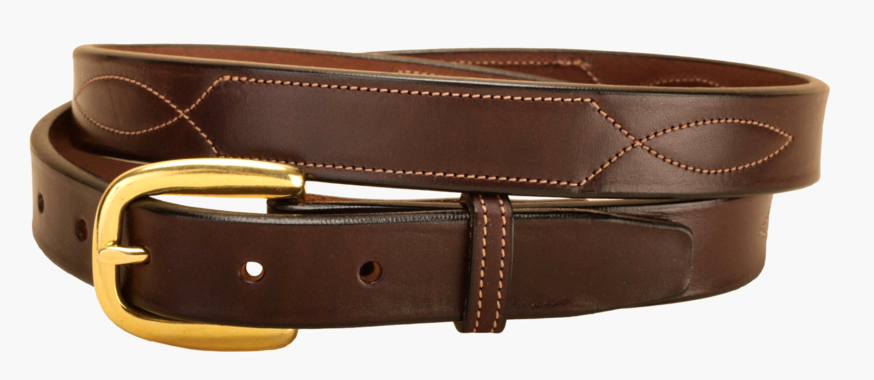 "Fancy Stitched Leather Belt - 1"" - Equestrian"