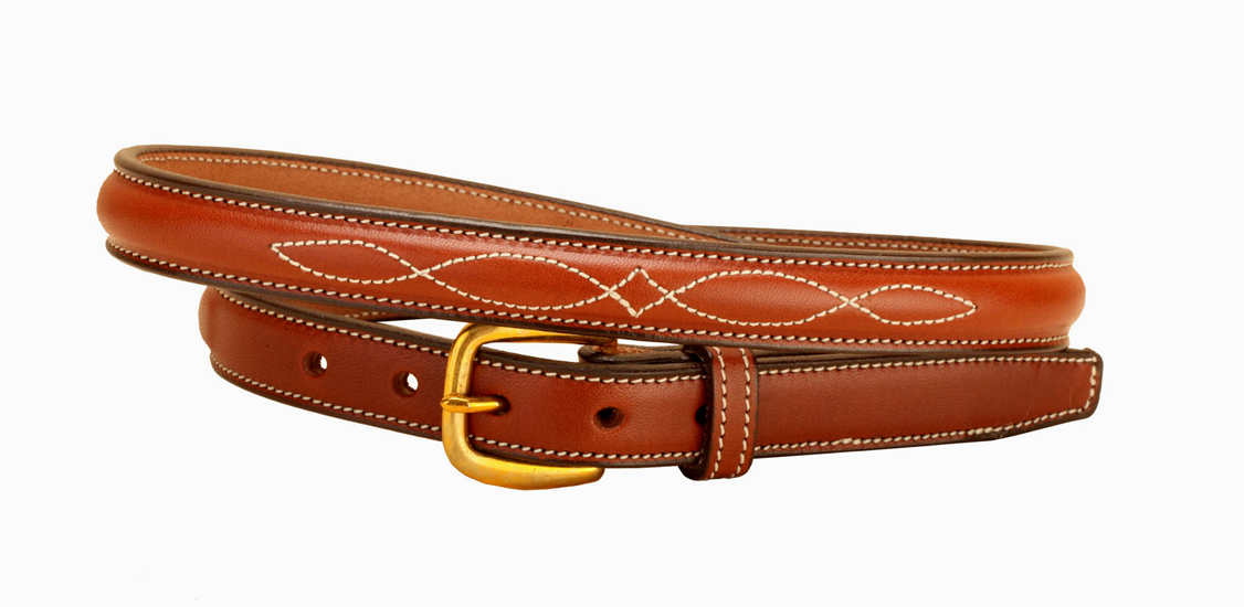 Fancy Stitched Raised Leather Belt - Equestrian