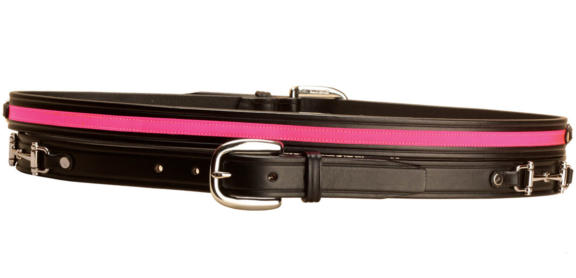 Snaffle bit black leather equestrian belt with pink ribbon.