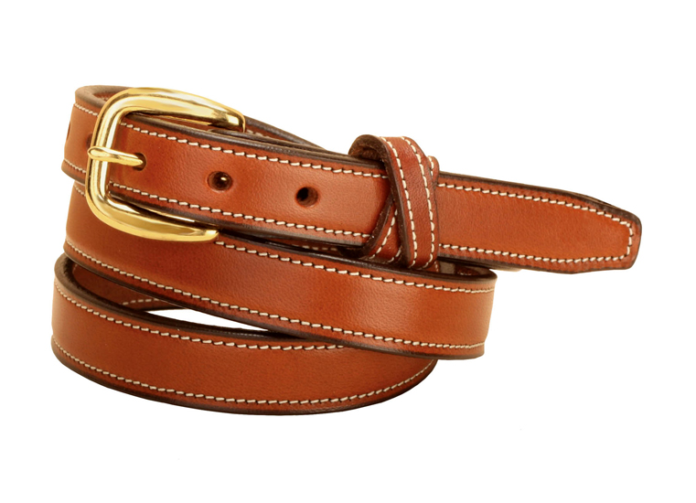 Edge Stitched Cross Keepers Leather Belt - Equestrian