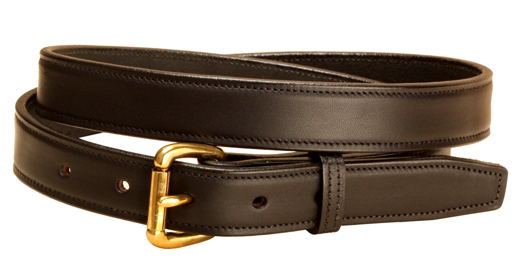 Black Edge Stitched Leather Belt with Brass Buckle - Equestrian