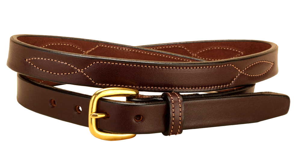 Fancy Stitched Leather Belt - Equestrian