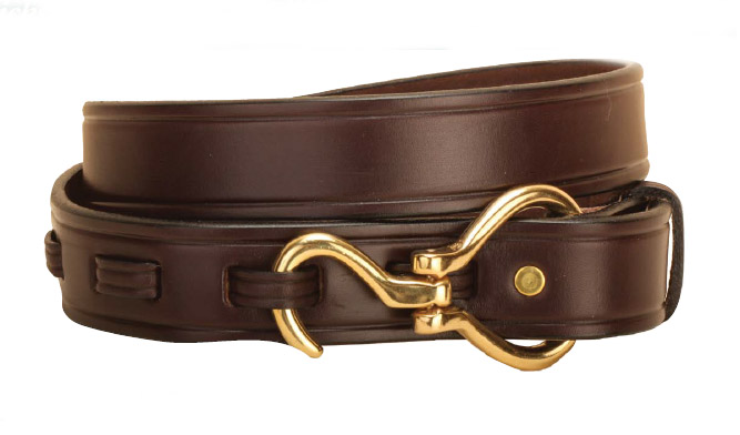 Equestrian Havana leather hoof pick belt with your choice of a silver or brass hoof pick closure.