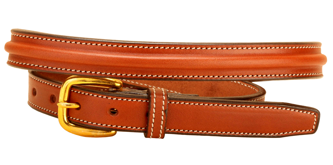 Narrow Raised Leather Belt - Equestrian