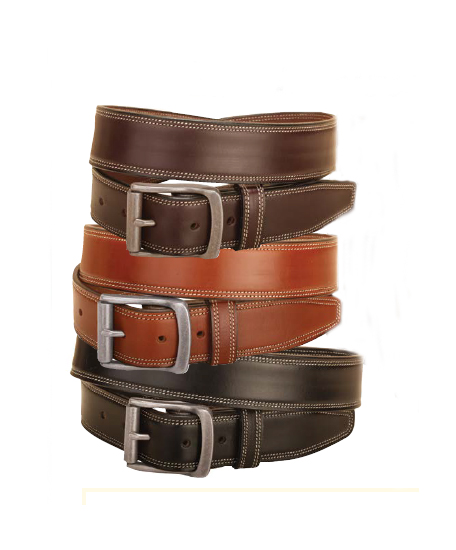 Double row of edge stitching and a bridle leather equestrian belt with nickel silver buckle.