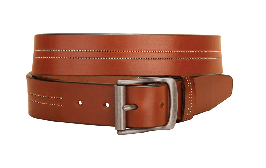 Double row center stitched leather equestrian belt.