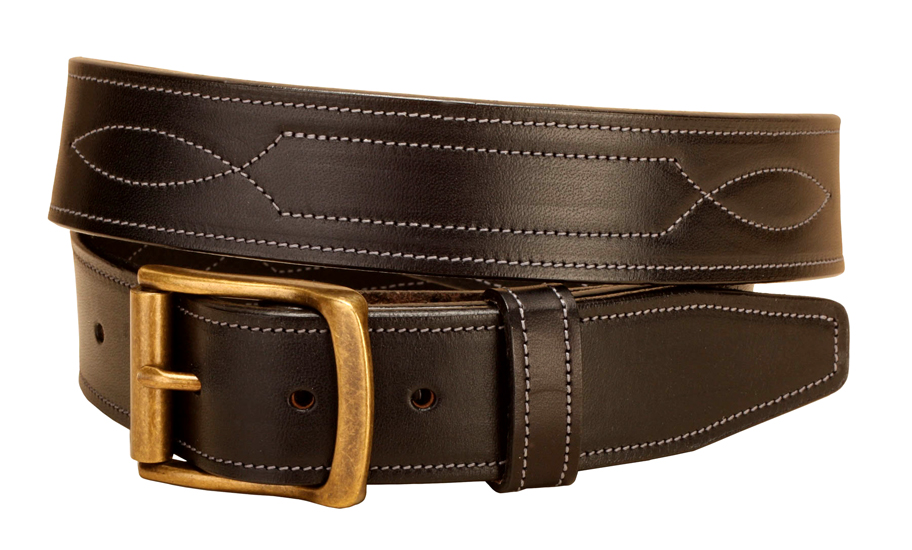 "Fancy Stitched Leather Belt - 1 1/2"" - Equestrian"