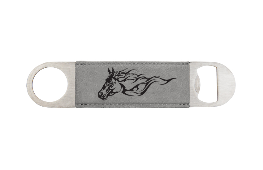 Engraved bottle opener with the horse design 2 and personalized text of your choice.