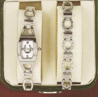 Tempi Silver Horseshoe Watch and Bracelet Gift Set - Equestrian Jewelry