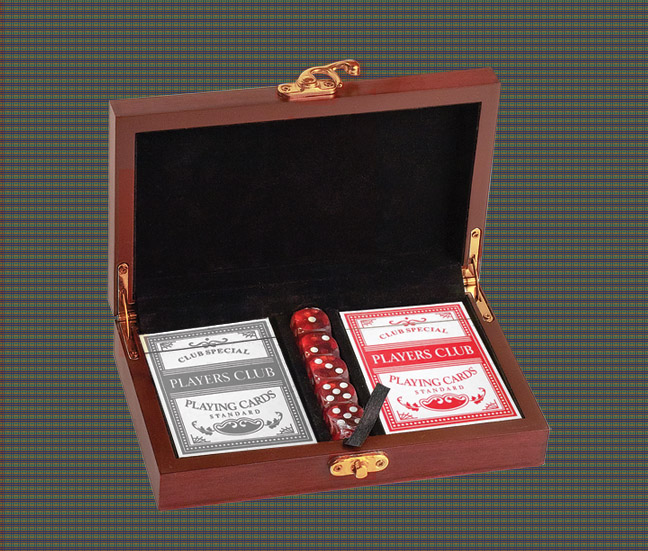 Personalized card & dice gift set with custom engraved cat design and text.
