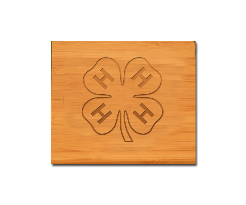 Engraved bamboo coasters and holder with the engraved 4-H logo and engraved text of your choice.