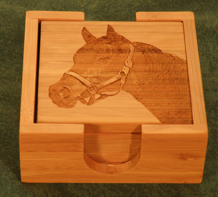 Set of 4 Bamboo coasters & Holder with the laser engraved custom photo - Equestrian Home Decor.