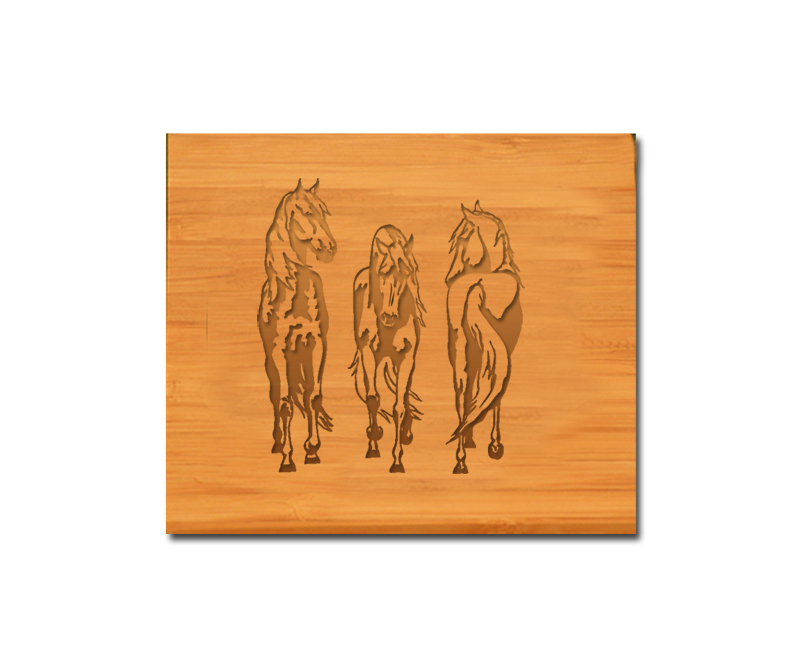 Custom engraved bamboo wood coaster set with personalized text and horse design 4.