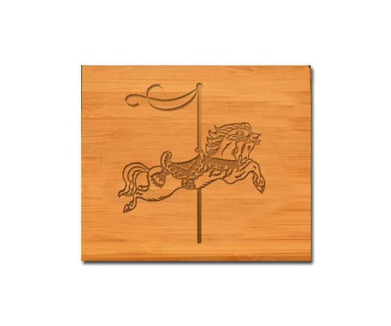 Personalized bamboo coaster with your choice of custom horse design 7 and engraved text.