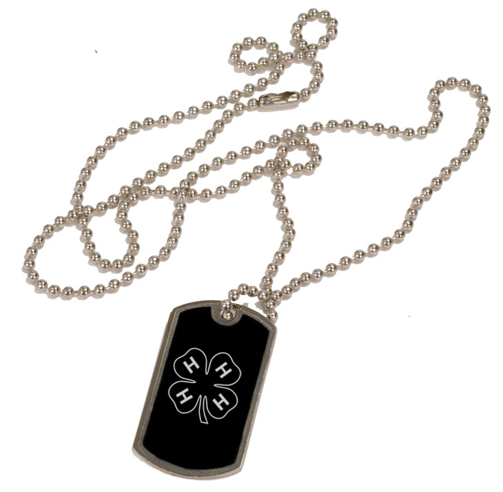 Personalized black and silver dog tag necklace with custom engraved 4-H logo.