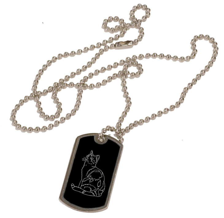 Personalized black and silver dog tag necklace with custom engraved cat design.