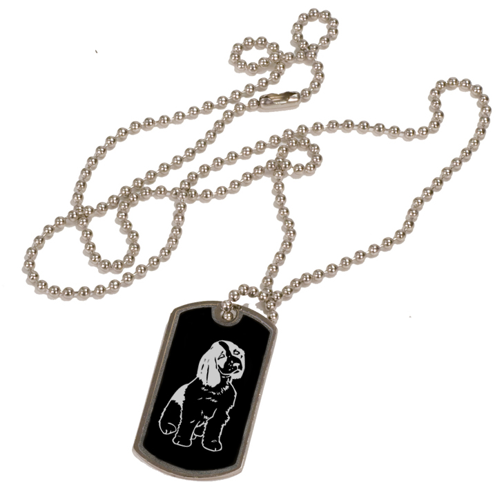 Personalized black and silver dog tag necklace with custom engraved sporting dog design.